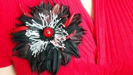 Кожаная брошь с яшмой ′Магический цветок′
