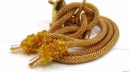 Лариат ′Янтарный′ жгут  сотуар галстук янтарь натуральный