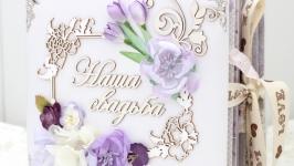 Объемный нежный свадебный фотоальбом ручной работы