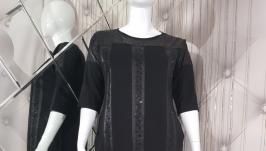 Классическое черное платье с карманами Plus Size