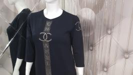 Прямое женское платье с декором Plus Size
