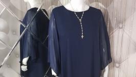 Синее шифоновое платье-туника