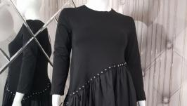 Трикотажное платье-туника с декором