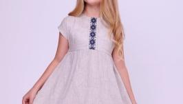 Вишита лляна сукня для дівчинки