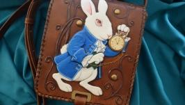 Кожаная сумка ′БЕЛЫЙ КРОЛИК′