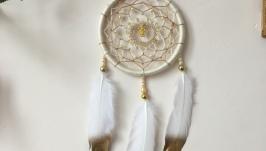 Белый ловец снов с совой , ловец снов золотистый