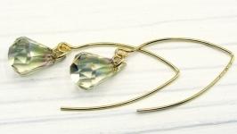Серьги ′Золотые капельки′ Swarovski серебро 925