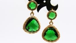 Серьги ′Яркая зелень′ ювелирное стекло позолота