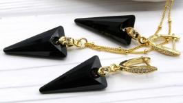 Комплект ′Черные стрелы′ Swarovski черный хрусталь позолота