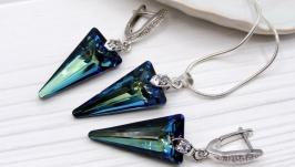 Комплект ′Синие стрелы′ Swarovski синий хрусталь родий