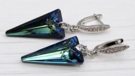 Серьги ′Синие стрелы′ Swarovski хрусталь серебро родий