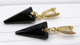 Серьги ′Черные стрелы′ Swarovski хрусталь позолота