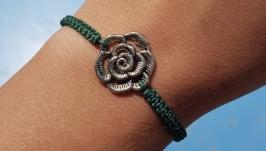 Браслет Троянда плетений зелений