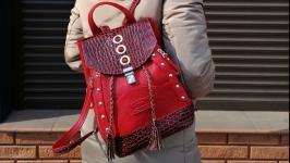 Кожаный рюкзак с натуральными сердоликами