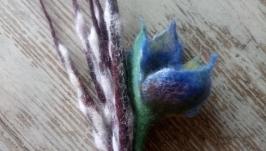 Мастер-класс Вербовые веточки и цветок из шерсти