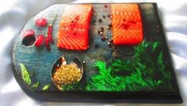 Доска для кухни ′Fish′ сервировочная,сырная,разделочная,декор,подарок