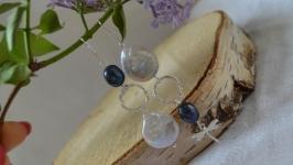 Серебряные асимметричные серьги с черным и барочным жемчугом ′Стрекоза′