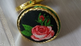Pocket mirror with embroidery-Roses