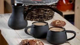 Набор Турка и 2 кружки  из каменной керамики серии Искренность в черном