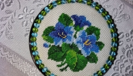 Pocket mirror with embroidery Violets