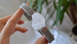 Кожаный серый браслет с горным хрусталем ′Сталактит′
