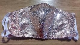 Защитная маска многоразового использования розовая пайетка