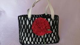Валяна сумка White and Black