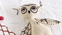 Linen Toy. Organic Stuffed Bird. Owl. Eсo Friendly Toy. With Letter O.