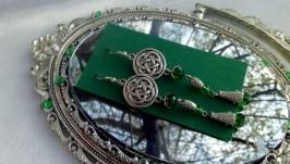 Серьги ′Кельтский узел зеленый′