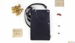 Кожаный поясной карман, сумка для денег ′Арахис′ (синий)