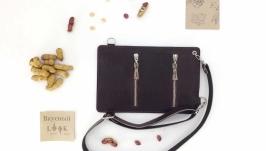 Кожаный поясной карман, сумка для денег ′Арахис′ (бордовая рептилия)