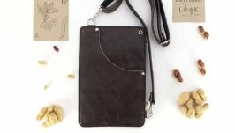 Кожаный поясной карман, сумка для денег ′Арахис′ (коричневый)