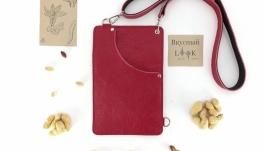Кожаный поясной карман, сумка для денег ′Арахис′ (красный)