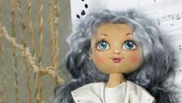 Текстильная кукла Девочка с зайчиком