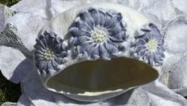 Валяный берет «Голубые цветы»