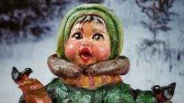 Ватная елочная игрушка  ′Погодуйте птаха взимку′