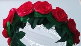 Ободок венок с цветами Венок из цветов для волос Розы красные