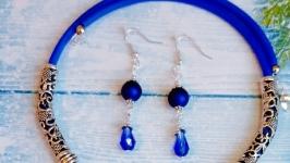 Комплект колье и серьги ′Синий бархат′.