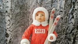 Морозики - лыжники. Ватная игрушка на елку.