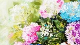 Картина цветы ′Под лучами солнца′ масло холст на подрамнике