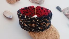 Браслет черно-красный - украшение из бисера