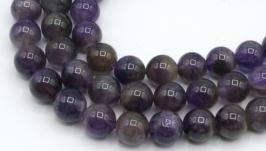 Бусины аметист натуральный 10 мм круглый гладкий фиолетовый
