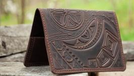 Обкладинка на паспорт шкіряна темно-коричнева чоловіча з орнаментом