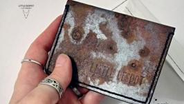 Кожаная обложка для id паспорта   прав   карт ′Rusty metal′