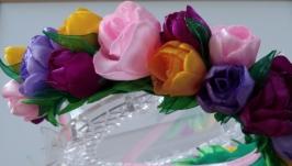 Ободок венок с цветами Венок из цветов для волос Весенние цветы