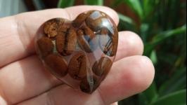 Брошка із зернами кави в ювелірній смолі