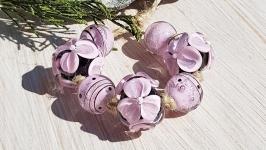 Бусины «Амелия» розовые на черном