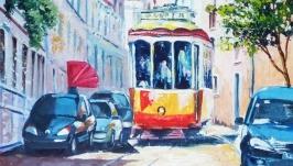 Картины: Желтый трамвайчик Лиссабона, холст
