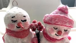 Ватная елочная новогодняя игрушка Влюбленные Снеговики