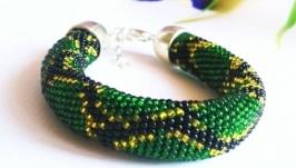 Зеленый браслет питон ручной работы из бисера Браслет на подарок